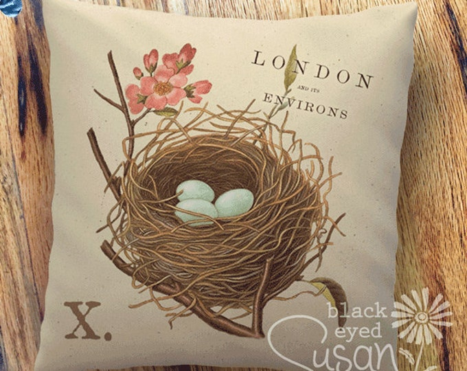 "Birds Nest Botanical Pillow Cover | 100% Cotton Canvas | 14""x14"" 18""x18"" 22""x22"" 