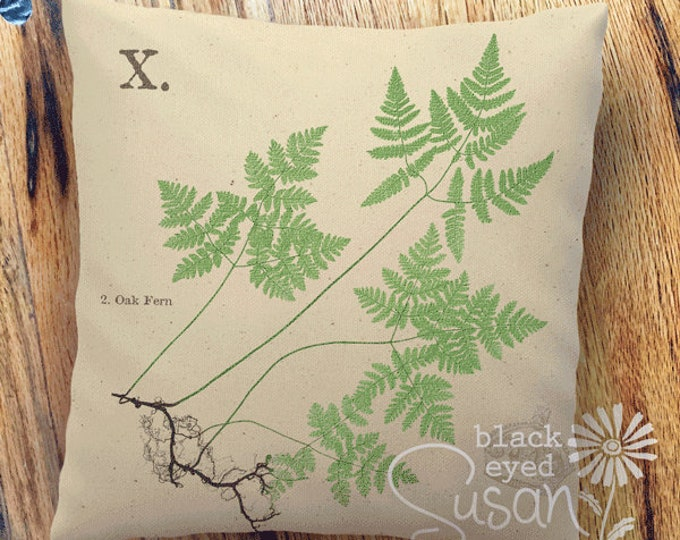"Oak Fern Botanical Pillow Cover | Cotton Canvas or Burlap | 14""x14"" 18""x18"" 22""x22"" 