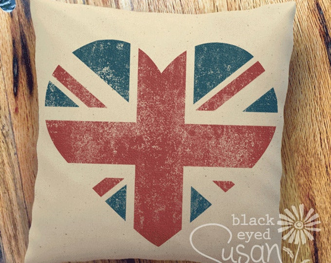 "Heart Union Jack Pillow Cover of Natural 100% Cotton Canvas or Lined Burlap | 14""x14"" 18""x18"" 22""x22"""