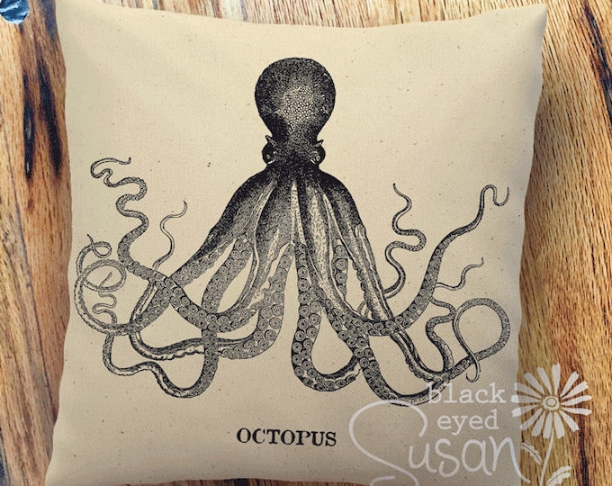 "Vintage Octopus Pillow Cover | 100% Cotton Canvas or Natural Burlap | 14""x14"" 18""x18"" 22""x22"" 