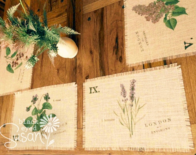 "Botanical English Garden Placemats of Natural Burlap with Raw and Reinforced Edge | 11"" x 16"" 