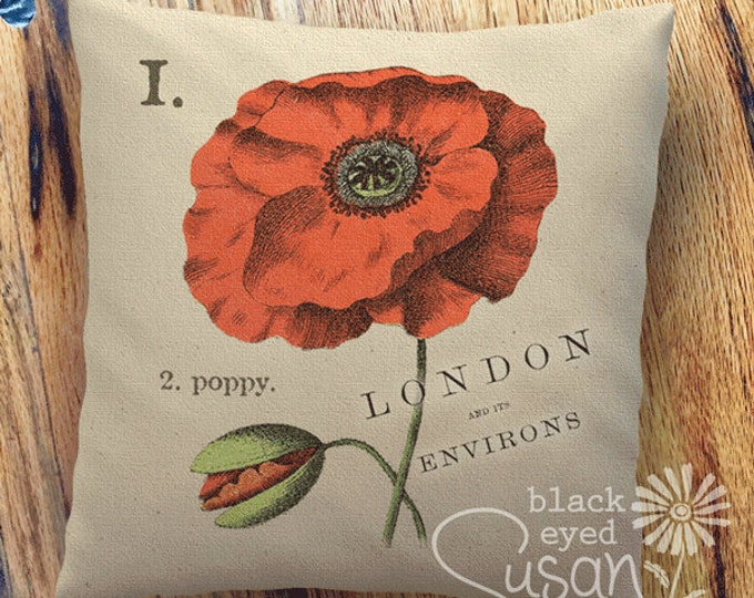 "Poppy Botanical Pillow Cover | 100% Cotton Canvas | 14""x14"" 18""x18"" 22""x22"" 