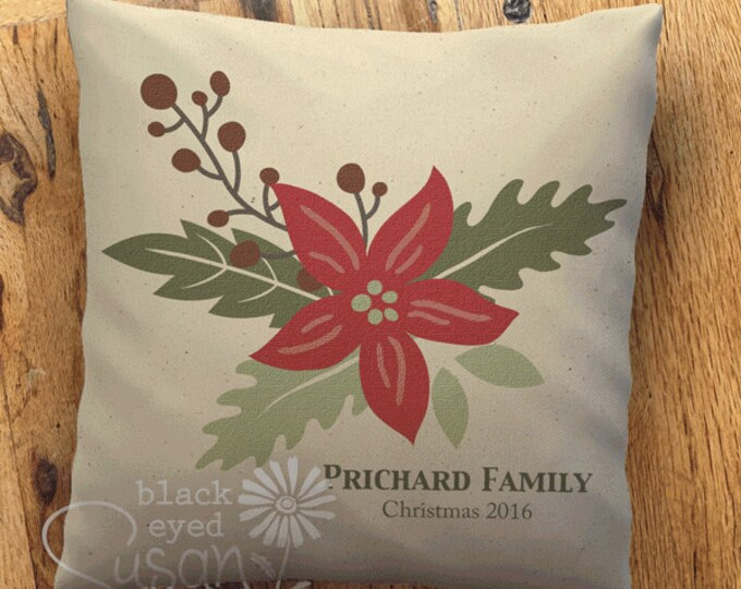 """Poinsettia Christmas Pillow Cover 