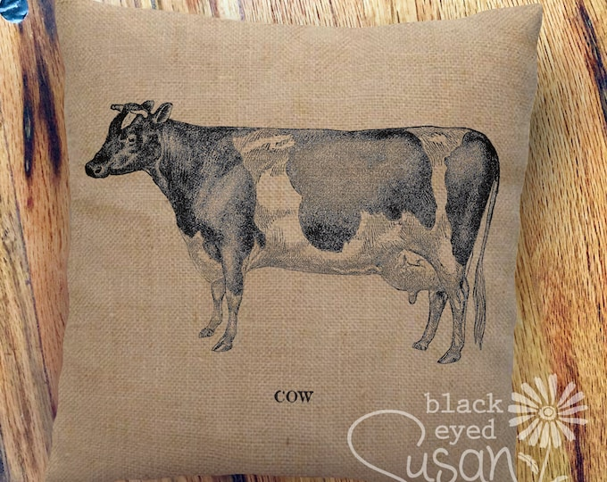 "Farmhouse ""Cow"" Pillow Cover 