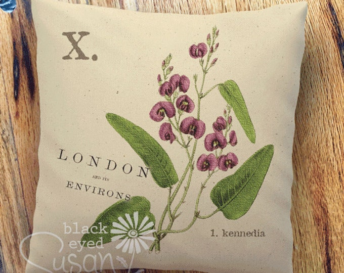 "Purple Kennedia Botanical Pillow Cover | 100% Cotton Canvas or Lined Burlap | 14""x14"" 18""x18"" 22""x22"" 