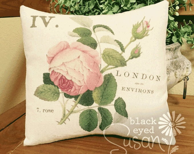 "Pink Cabbage Rose Pillow Cover | 100% Cotton Canvas | 14""x14"" 18""x18"" 22""x22"" 