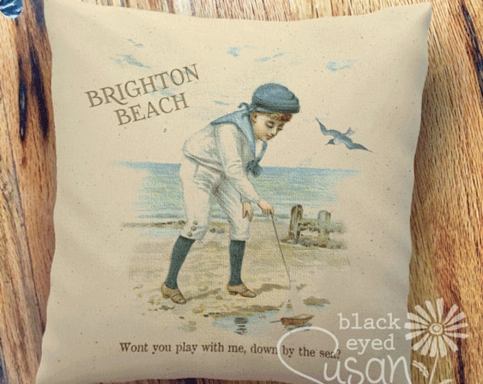"Boy on Brighton Beach, England | 100% Cotton Canvas | 14""x14"" 18""x18"" 22""x22"""