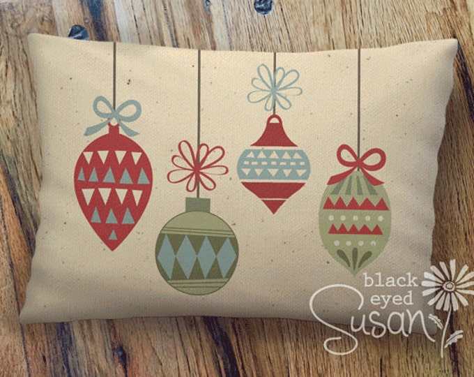 "Christmas Ornament Pillow Cover | Burlap or Natural 100% Cotton Canvas | 12"" x 18"" or 16"" x 24"""