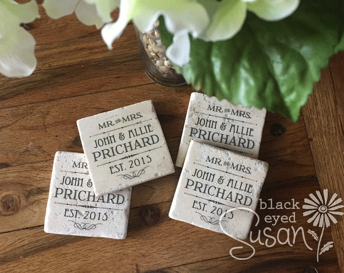 "4 Piece Mr. & Mrs. Established Wedding / Anniversary Coaster Set of Natural Stone | 4"" x 4"" w/ Felt Bottoms"