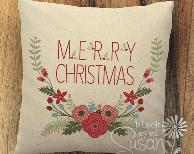 "Merry Christmas Floral Pillow Cover | 14""x14"" 18""x18"" 22""x22"" 