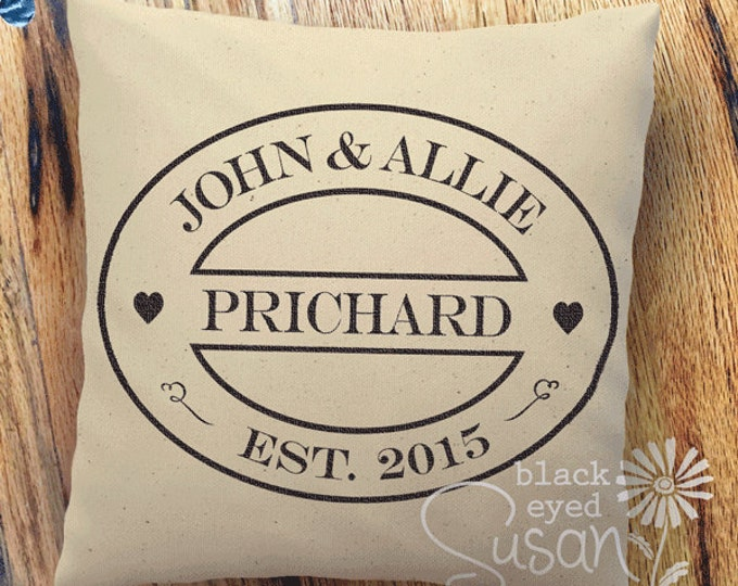 "Custom Wedding or Anniversary Pillow Cover of Natural Canvas or Lined Burlap | 14""x14"" 18""x18"" 22""x22"" 