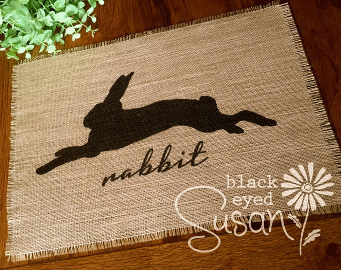 "Rabbit Silhouette Placemat of Natural Burlap with Raw and Reinforced Edge | 11"" x 16"""