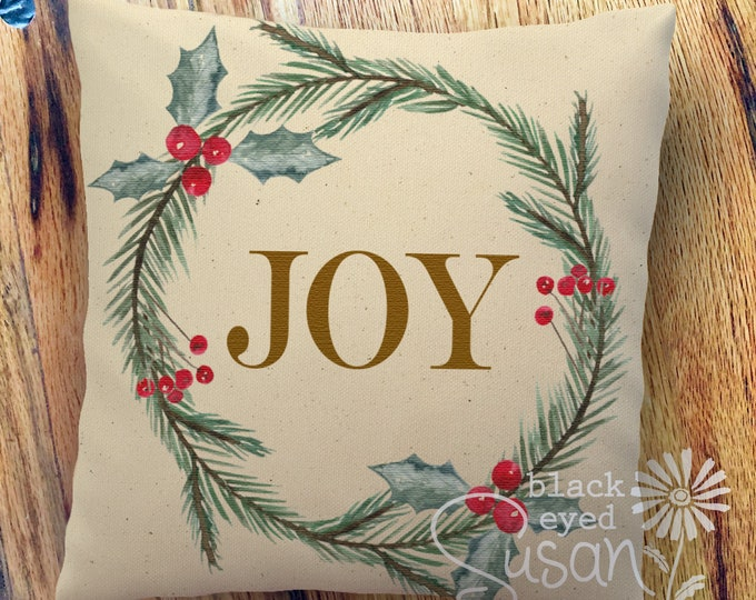 "Christmas Pillow Cover ""Joy"" Botanical Wreath 