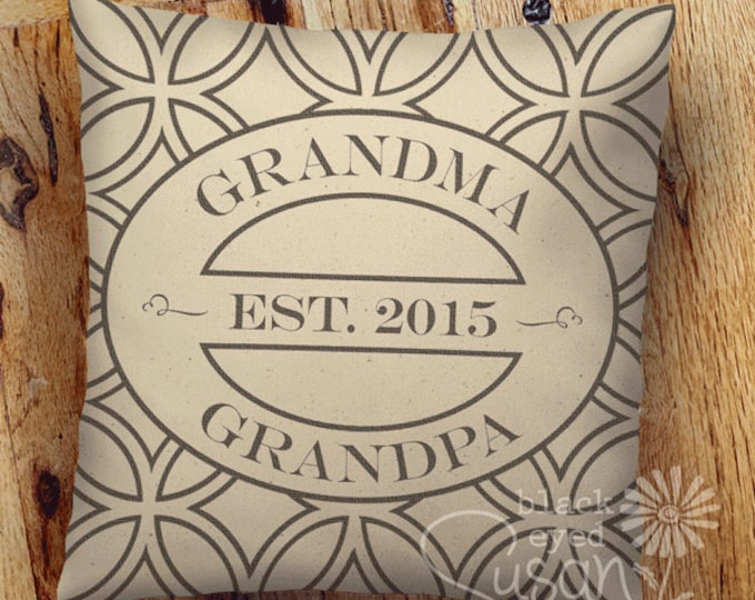 "Grandma Grandpa Pillow Cover Canvas or Lined Burlap | Classic Circle Pattern Background | 14""x14"" 18""x18"" 22""x22"" 