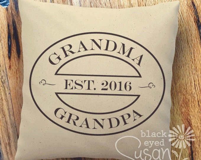 "16 Colors Choices: Grandpa & Grandma Pillow Cover of Natural Canvas or Lined Burlap | 14""x14"" 18""x18"" 22""x22"" 