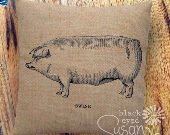 "Farmhouse Pig ""Swine"" Pillow Cover 