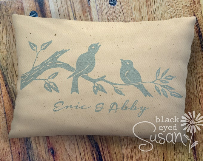 "Customized Love Birds Print Pillow Cover of Natural 100% Cotton Canvas | 12"" x 18"" or 16"" x 24"" 