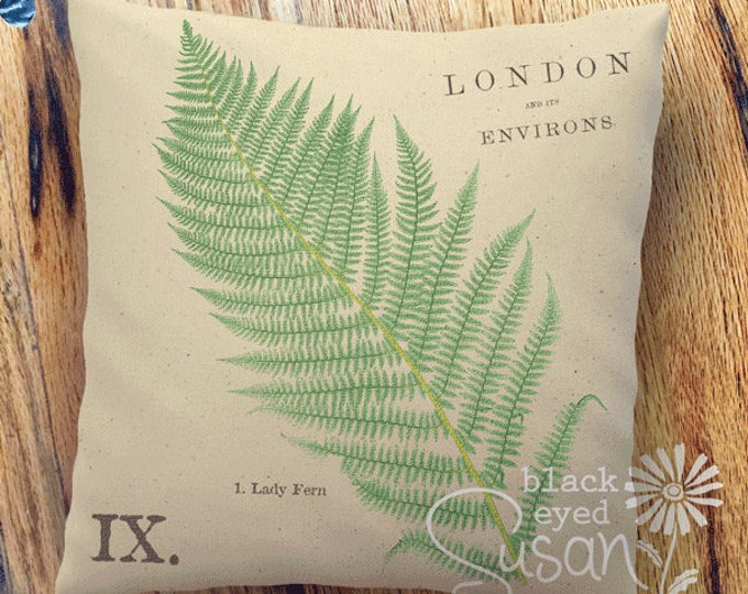 "Lady Fern Botanical Pillow Cover | Cotton Canvas or Burlap | 14""x14"" 18""x18"" 22""x22"" 