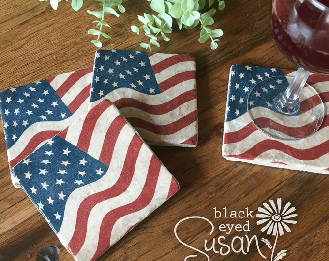 "4 Piece US Flag Coaster Set of Natural Stone Distressed | 4"" x 4"" w/ Felt Bottoms"