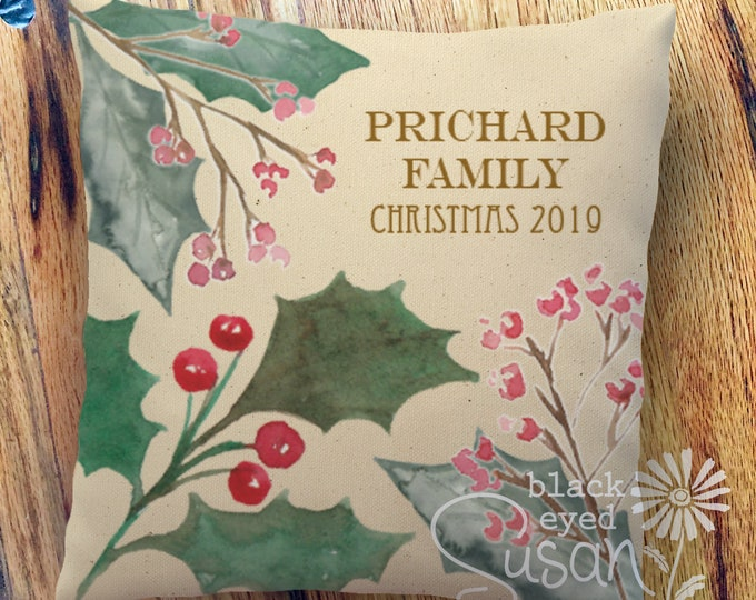 "Personalized Christmas Pillow Cover | Botanical Holly | 14""x14"" 18""x18"" 22""x22"" 