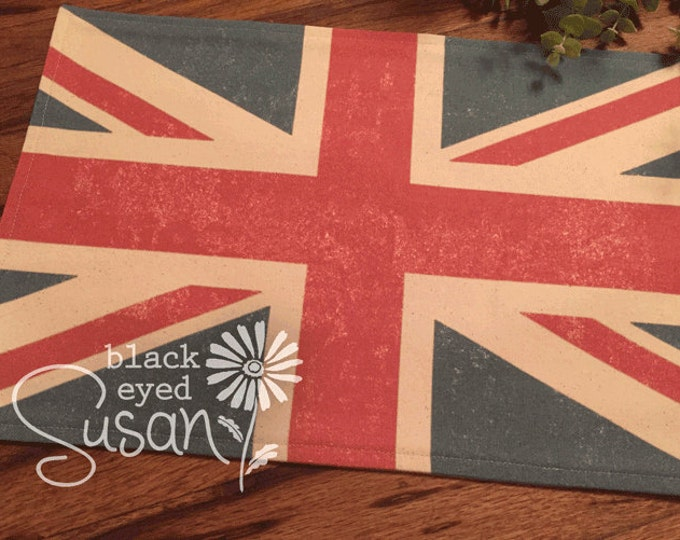 "Union Jack Placemat of Natural Burlap or Canvas | Fully Lined w/ Cotton Canvas Backing | 11"" x 16"""