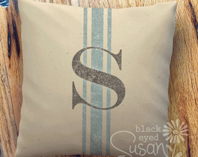 """Distressed Monogram w/ French Stripe Pillow Cover 