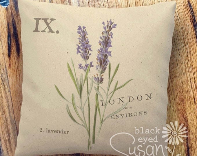 "Purple Lavender Botanical Pillow Cover | 100% Cotton Canvas or Lined Burlap | 14""x14"" 18""x18"" 22""x22"" 