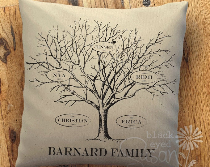 """Family Tree Pillow Cover of Natural 100% Cotton Canvas 