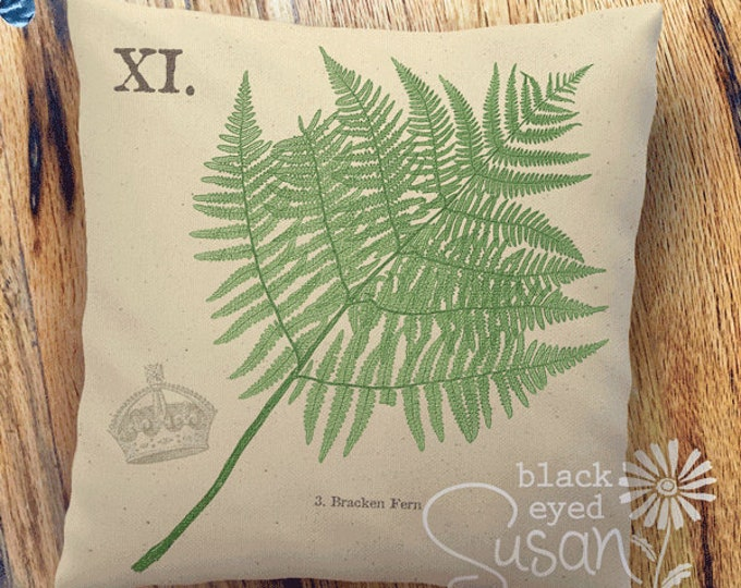 "Bracken Fern Botanical Pillow Cover | Cotton Canvas or Burlap | 14""x14"" 18""x18"" 22""x22"" 