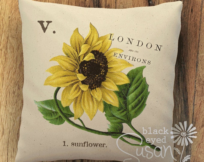 "Sunflower Botanical Pillow Cover II | 100% Cotton Canvas or Burlap | 14""x14"" 18""x18"" 22""x22"" 