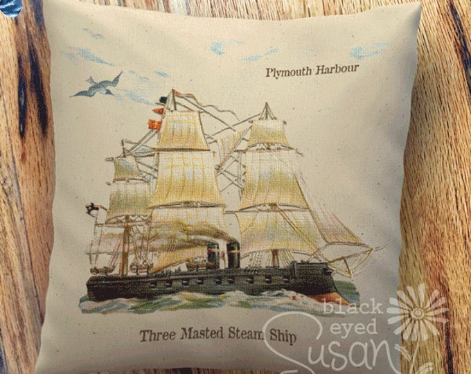 "Ship in Plymouth Harbour, England | 100% Cotton Canvas or Lined Burlap | 114""x14"" 18""x18"" 22""x22"""