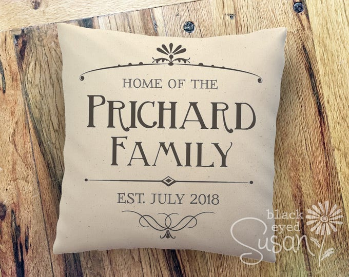 "Personalized ""HOME OF THE ..."" Pillow Cover w/ Family Name & Date 