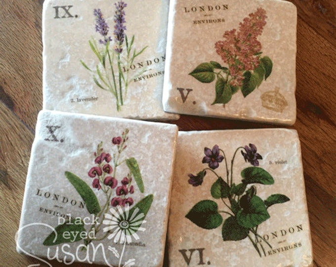 "4 Piece English Garden Botanical Coaster Set of Natural Stone | 4"" x 4"" w/ Felt Bottoms 