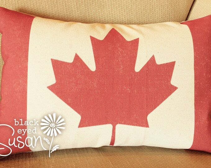 "Distressed Canadian Flag Pillow Cover of Natural 100% Cotton Canvas or Lined Burlap | 12"" x 18"" or 16"" x 24"" w/ Hand Painted Button Closure"