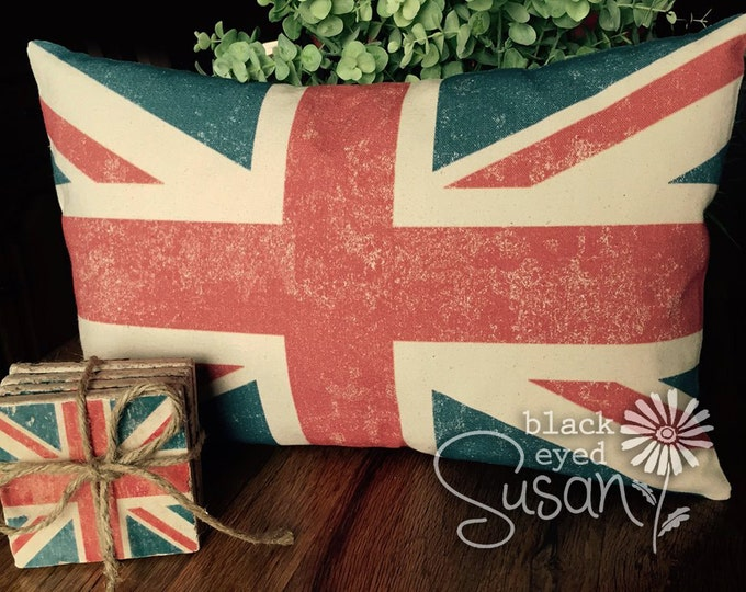 "Distressed Union Jack Pillow Cover of Natural 100% Cotton Canvas or Lined Burlap | 12"" x 18"" or 16"" x 24"""
