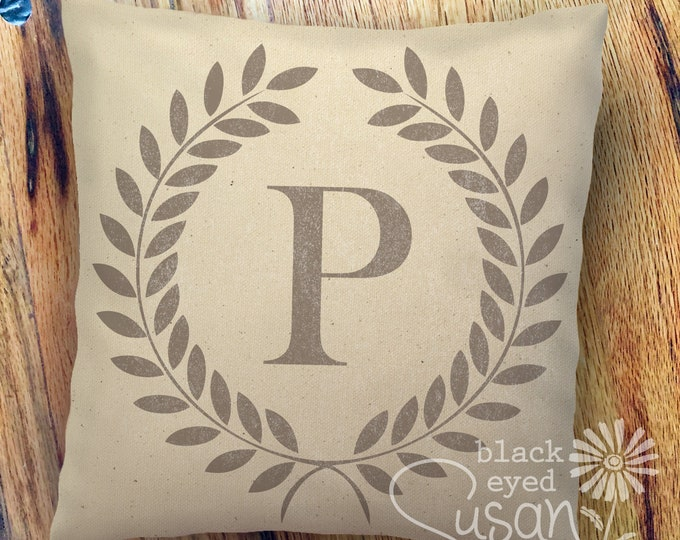 "Monogram w/ Laurel Wreath Pillow Cover | 100% Cotton Canvas or Lined Burlap | 14""x14"" 18""x18"" 22""x22"" 