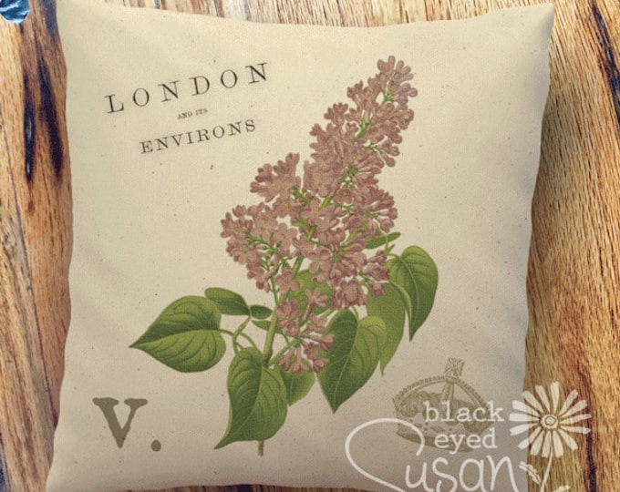 "Purple Lilac Botanical Pillow Cover | 100% Cotton Canvas or Burlap | 14""x14"" 18""x18"" 22""x22"" 