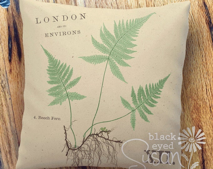 "Beech Fern Botanical Pillow Cover | Cotton Canvas or Burlap | 14""x14"" 18""x18"" 22""x22"" 