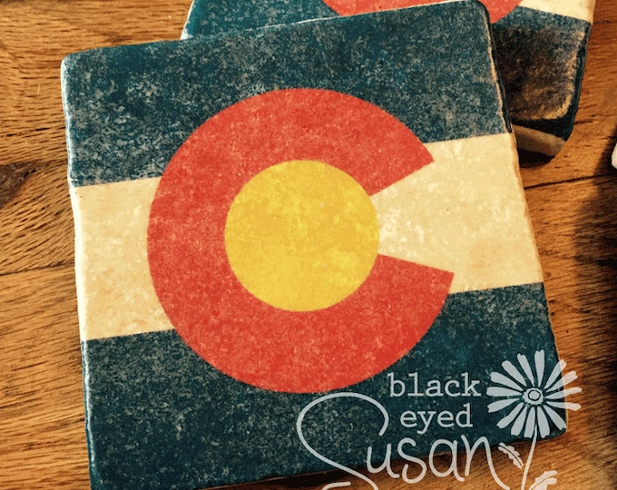 "4 Piece Colorado Flag Coaster Set of Natural Stone Distressed | 4"" x 4"" w/ Felt Bottoms"