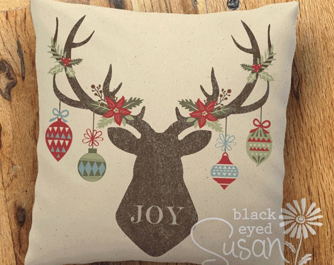 "Reindeer Christmas Pillow | 14""x14"" 18""x18"" 22""x22"" 
