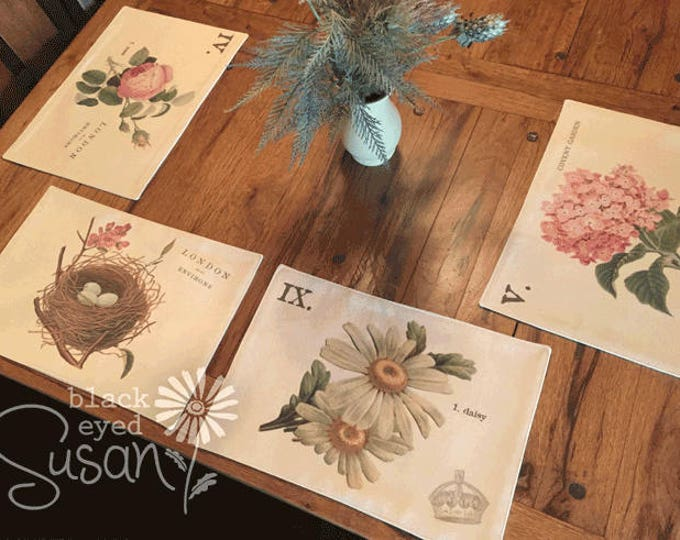 """Botanical English Garden Placemats of Natural Canvas or Burlap 