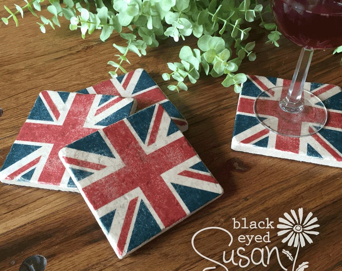 "4 Piece Union Jack Coaster Set of Natural Stone Distressed | 4"" x 4"" w/ Felt Bottoms"