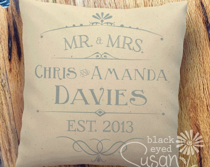 "16 Ink Colors | Mr. & Mrs. Wedding or Anniversary Gift Pillow Cover of Natural Canvas or Lined Burlap | 14""x14"" 18""x18"" 22""x22"""