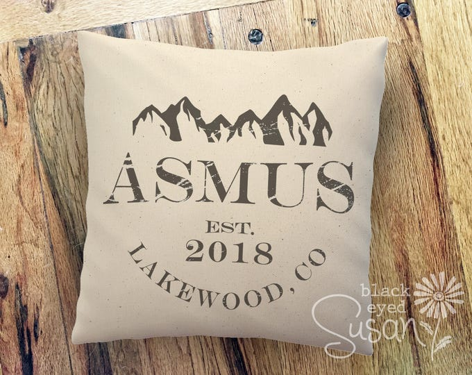 "Personalized Mountain Range Pillow Cover w/ Last Name, City & Year | 100% Cotton Canvas or Lined Burlap | 14""x14"" 18""x18"" 22""x22"""