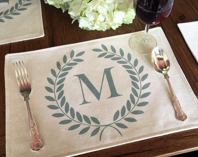 "16 Color Choices: Monogram Laurel Wreath Placemat of Natural 100% Cotton Canvas or Burlap | Cotton Backing | 11"" x 16"" or 14"" x 14"" Square"