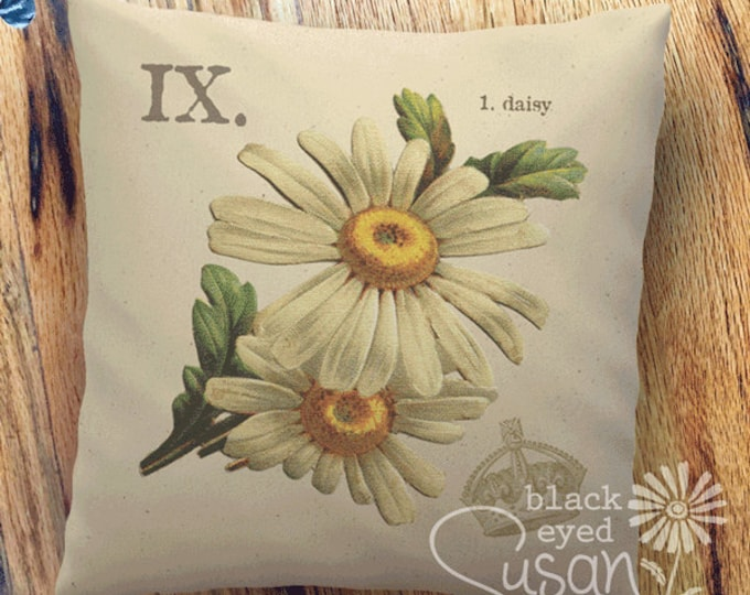 "Daisy Botanical Pillow Cover | 100% Cotton Canvas | 14""x14"" 18""x18"" 22""x22"""