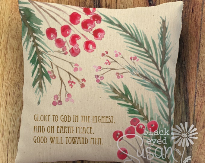 "Christmas Pillow Cover ""Glory to God in the Highest"" 