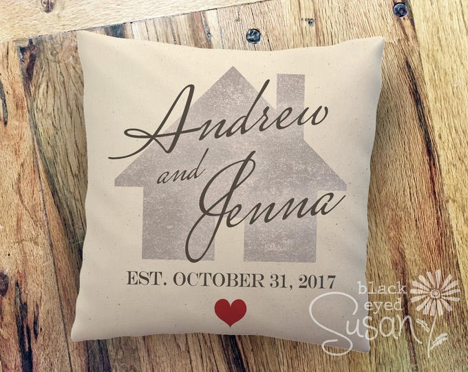 "Personalized Heart and Home Pillow Cover w/ Names & Date | 100% Cotton Canvas or Lined Burlap | 14""x14"" 18""x18"" 22""x22"""