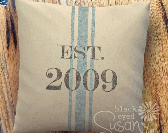 "Distressed Date w/ French Stripe Pillow Cover | Natural Canvas or Lined Burlap | 14""x14"" 18""x18"" 22""x22"" 