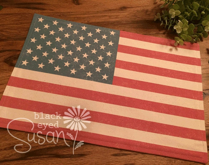 "U.S. Flag Placemat of Natural Burlap or Canvas | Fully Lined w/ Cotton Canvas | 11"" x 16"" 